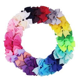 Clip di capelli carino della caramella online-Baby Bow Ribbon Clip di capelli Carino Bambini Candy Colori Bowknot Girandola Forcelle Ragazza Partito Barrettes Accessori Per Capelli TTA1206