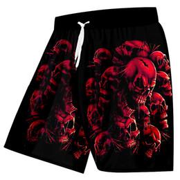Tablero del cráneo online-Ujwi Casual de Los Hombres de Nueva Llegada de Moda Imprimir Cráneos Rojos 3d Beach Board Shorts Hombre Cintura Alta Cintura Elástica Pantalones Q190417