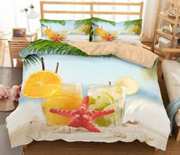 Pano havaí on-line-3D Starfish Seaside Impresso Conjunto de Cama Havaí Estilo Capa de Edredão 3 pcs Pano de cama com Fronha