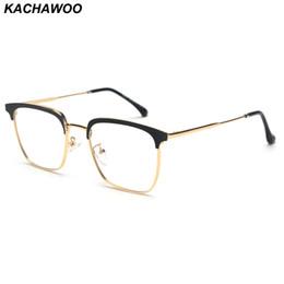 2019 óculos de armação preta quadrada Kachawoo Quadrado Armações de Óculos Para Homens de Metal Mulheres Óculos de Armação Óptica de Alta Qualidade Preto de Prata de Ouro 2019 óculos de armação preta quadrada barato