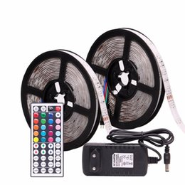 24v neon lights Coupons - RGB LED Strip Waterproof 2835 5M 10M DC12V LED Light Strip Neon LED 12V Flexible Tape Ledstrip With Controller and Adapter