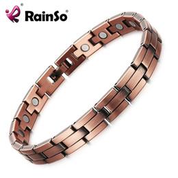pulseras curativas para hombre. Rebajas RainSo Copper Magnetic Men Women Bracelets Bronze Color Pure Copper Arthritis Healing Jewelry Brand Bracelets Homme