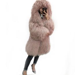 Полная кожаная куртка онлайн-Натуральная пляжная шерсть полная кожаная длинная дизайнерская шуба из монголии с шубой из овечьей шерсти верхняя одежда куртка женская с капюшоном женская