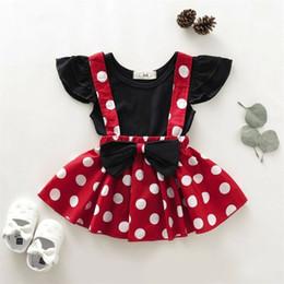 traje de falda de lunares Rebajas 2 piezas de la niña a estrenar del niño de los bebés del juego de ropa camisa de lunares Sólido + falda de la liga de la técnica sistemas de la ropa