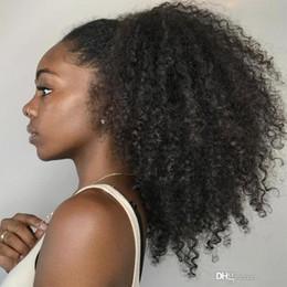2019 afro haar perücken für afrikanische frau Verworrene lockige volle Spitze-Afro-Perücken Glueless mongolisches Jungfrau-Haar-vor gezupfte Afro-verworrene lockige Menschenhaar-Perücke für Afroamerikaner-Frauen rabatt afro haar perücken für afrikanische frau