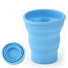 Botellas de agua de moda online-Tazas de café plegables Taza de silicona portátil Botella de agua plegable Moda Tazas de té plegables sin tapa Envío gratis