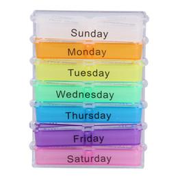 2019 caixa de inicialização clara 7 Dias Caso Colorido Tablet Box Recipiente Medicina Semanal Caixa De Comprimido De Armazenamento Organizador Pill Cases Divisores