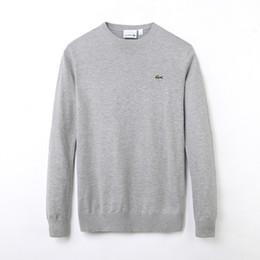 Envío de la gota nueva jersey online-Nueva marca de polo de los hombres Aguja Trenzada # 76ACOSTE Suéter de punto de algodón con cuello en V Suéter Suéter Hombre envío de la gota negro blanco