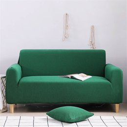 2019 einfache wohnmöbel Einfache Stil Schnitt Sofa Abdeckung für Sofa im Wohnzimmer Abdeckung elastische feste grüne Farbe der Möbelbezüge rabatt einfache wohnmöbel