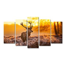 pinturas vintage niños Rebajas 5 piezas combinaciones HD Elk Sunset Pattern enmarcado lienzo pintura sala decoración de la pared impreso en lienzo pintura al óleo póster con marco