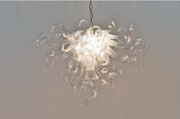 Klarer zeitgenössischer kronleuchter online-Pure Clear mundgeblasenem Glas Deckenleuchten hängen Muranoglas Kronleuchter Lampe für zeitgenössische einfache Haus Dekor