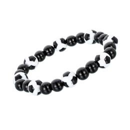 Bracelets rouges pas cher en Ligne-Fabriqué En Chine À La Main Bracelet En Rouge Et Blanc Couleur Populaire Football Style Perle Bracelet Promotion Cadeaux Bijoux Pas Cher