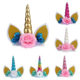 diy partido decorações miúdos aniversário Desconto Novo unicórnio de lantejoulas crianças festa diy acessórios para o cabelo bolo decoração unicorn tema bolo de aniversário decoração dress up