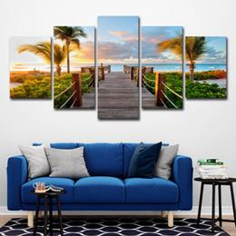 immagini del tramonto spiaggia Sconti (Solo su tela senza cornice) 5Pcs Sunset Beach Bridge Palm Trees Seascape Wall Art HD Stampa Su Tela Dipinto Moda Immagini Appese