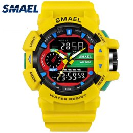 желтые спортивные часы привели Скидка SMAEL желтый спортивные часы Dual Time LED цифровые часы Кварцевые аналоговые-Digital1436 мужские наручные часы военные мужские часы цифровые