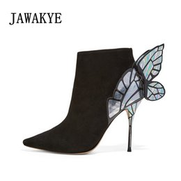2019 New Designer Kid Suede Butterfly wings Ankle Boots For Women Super  Thin High Heels Stiletto boots Sexy Party Shoes Women b6b7ad8139b1
