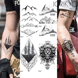 Argentina Flecha Dale Tatuaje Temporal Hombres Brazo Geométrico Montaña Tatuaje Negro Pegatinas Mujeres Cuerpo Manos Tatoos Impermeable Maquillaje de Árbol de Pino Suministro