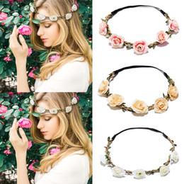 M MISM 1pc fiore fascia elastica per le donne decorazione dei capelli da sposa fiore rosa principessa corona accessori per capelli da giardino ragazze da