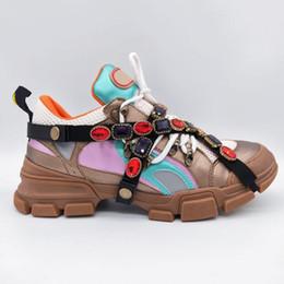 2019 bottes de marque homme Marque de luxe Designer Sneakers Escalade Montagne Casual Chaussures Flashtrek Sneaker Amovible Cristaux Hommes Femmes En Plein Air Randonnée Bottes Avec Boîte bottes de marque homme pas cher