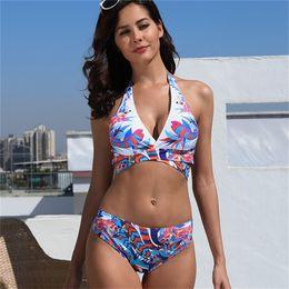 4641244105664 Push up bikini plus size swimwear 2019 Sexy swimsuit women bikinis biquini  bandage bathing suit 5XL Retro print womens swim wear