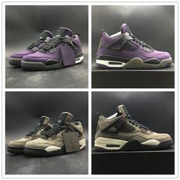 Обувь для баскетбола коричневого цвета онлайн-2019 Трэвис Скотти Баскетбол обувь 4S Верх замши Фиолетовый Коричневый Кроссовки модельера Хьюстон Ойлерз Мужская спортивная обувь