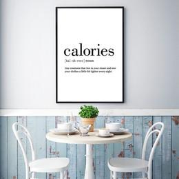 imagens de funny art Desconto Calorias Definição Minimalista Art Pintura Foodie Pictures Decoração, Preto E Branco Engraçado Da Arte Da Lona Impressões Cartaz Da Cozinha