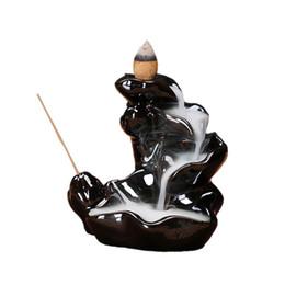 Incensario de reflujo online-Ywbeyond Lotus cascada de Reflujo quemador de incienso incensario de cerámica fuman volver conos de flujo de incienso incienso bala