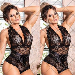 Lingerie sexy xxxl on-line-M-3XL Halter Corpo Sexy Lingerie Backless Lace Up Sexy Roupa interior profundo decote em V Lingerie Sexy Hot Erotic Babydoll Plus Size XXXL XXL
