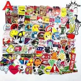 Sticker mural de voyage en Ligne-100 pcs x6 ne répétant pas les autocollants imperméables pour la décoration de la maison décor valise de voyage mur vélo vélo plaque coulissante voiture styling autocollant