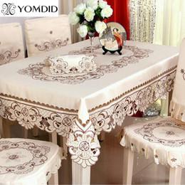 mantel redondo bordado Rebajas Paño de tabla bordado que cena / boda Mantel rectangular floral para el hogar del hotel redondo y cuadrado Paño de tabla