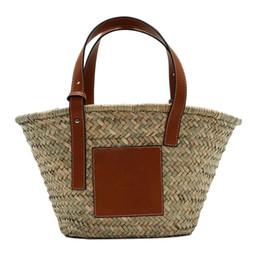Piccolo tote di paglia online-Borse vintage Nappa delle donne Large Medium Small Size Borsa borsa a mano tessuta per le donne Round Straw Beach Borse donna J190611
