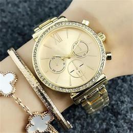 стиль часы девушки Скидка GOO Мода женские девушки кристалл Поддельные 3-глазные циферблаты стиль 36 мм женские кварцевые часы из нержавеющей стали ремешок кварцевые наручные часы оптом