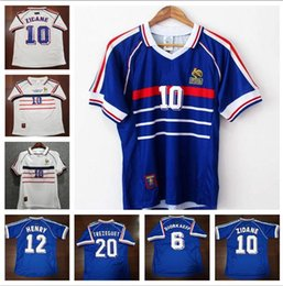 1454ab710 World Cup 1998 retro France soccer jersey custom name number zidane 10  henry 12 football shirts top AAA quality soccer clothing french