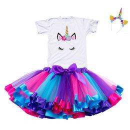 2019 Garota Unicorn vestido Tutu do arco-íris do partido da princesa Girls Dress criança bebê de 1 a 8 anos de aniversário Roupas Crianças Kids Clothes de Fornecedores de vestido de crochet branco longo