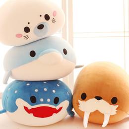 2019 brinquedo tubarão-baleia Golfinho bonito, selos, morsas, baleias assassinas, tubarões de baleia brinquedos de pelúcia, partículas de espuma de crianças de Aliança do oceano bonecas de boneca de crianças desconto brinquedo tubarão-baleia