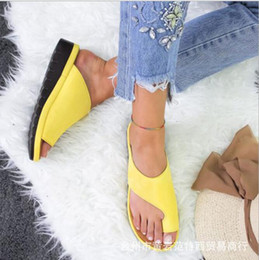 platform thick high heel gold shoes Promo Codes - Summer women shoes sandals Platform toe slippers with wedges comfortable flat bottom thick bottom hollow out wear cool slippers