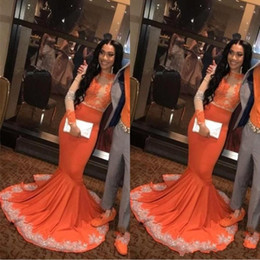 pink strap long prom dresses Promo Codes - Sexy African Arabic Black Girls Mermaid Orange Prom Dresses 2019 Long Sleeve Lace Applieque Plus Size Couple plus Size Evening Gowns BC0902