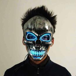 2019 sinais de luz busch BRELONG Halloween Máscara de Horror Preto Bloody Thriller Cabeça Máscara de Incandescência LED Prom Halloween Máscara Assustadora Brinquedos Melhor Presente