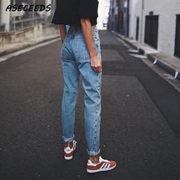 jeans coreanos de talle alto Rebajas Vintage Ladies Boyfriend Jeans para mujeres Mom High Waisted Jeans Blue Casual Lápiz Pantalones Korean Streetwear Denim PantsMX190827