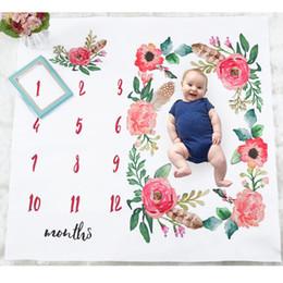 sesión de fotos de fondo Rebajas nave de la gota bebé recién nacido Crecimiento mensual Milestone manta de flores de tela de fondo sesión de fotos de cama Wrap apoyos de la fotografía