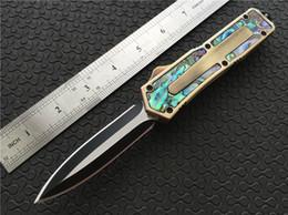 Navy navy online-Navy Doble acción Auto Cuchillo Abalone Gold Anodizado Manija de aluminio Zinc con inserciones de abulón QD Outdoor Camping Knife P81Q