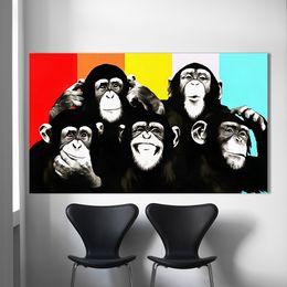 pop art heimtextilien leinwand Rabatt HDARTISAN Tier Leinwand Kunst Ölgemälde Pop Art Lustige Schimpansen Wandbilder Für Wohnzimmer Wohnkultur Gedruckt Rahmenlose