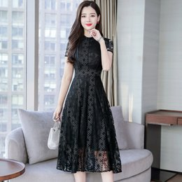 vestido de encaje coreano xl Rebajas 2019 Summer new ladies lace long dress plus size elegant black floral mesh sunflower sundress party korean women maxi vestidos