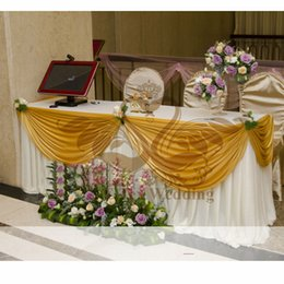 wedding table skirting swag Promo Codes - White Color Ice Silk Wedding Table Skirt Include Theg Gold Top Swag Drape
