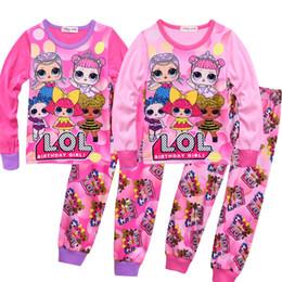 Conjuntos de ropa de niñas chinas online-2019 Ropa para niños nuevos Pijamas de año nuevo chino Pijamas de otoño e invierno Servicio a domicilio Conjunto Carta Muñeca Estampado para niñas Traje