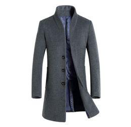 Trench coat long neck men on-line-Mens Inverno Trench Coats Sólidos Lapela Longos Casacos Botão Estilo de Negócios Moda Hoome Roupas