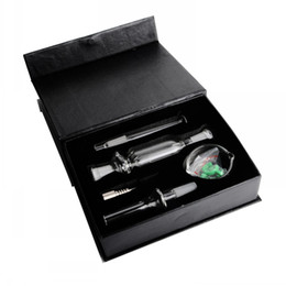titanio Sconti IN STOCK 10mm 14mm 18mm Black Box Nectar Vetro Bruciatore a olio Tubo di vetro Tubi di fumo Bong di vetro Tubi di acqua Titanio Nail