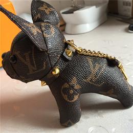 2019 bambole francesi Fashion design Bulldog francese pendente del sacchetto chiave di modo della catena catena di alta qualità portachiavi bambola del cane in pelle bambole francesi economici