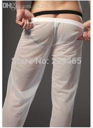 roupas íntimas transparentes Desconto lazer calças Atacado-Fashion dormir calças homens pijama Homewear desgaste do sono para os homens transparente calças pura cueca de salão