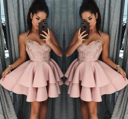 dusty rose black lace dresses Promo Codes - Dusty Rose Short Homecoming Dresses 2018 New Fall Spaghetti Straps A Line Layers Cocktail Dress Lace Sequins Mini Prom Gowns